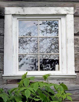9951637 Old Fashioned Window With Lace Curtains
